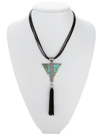 Shops Retro Faux Leather Layered Triangle Turquoise Fringe Necklace