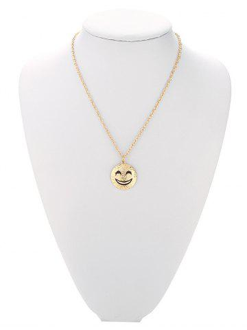 Outfit Trendy Grinning Face Pure Color Pendant Necklace For Women