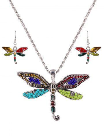 Hot Multicolored Beads Dragonfly Jewelry Set SILVER