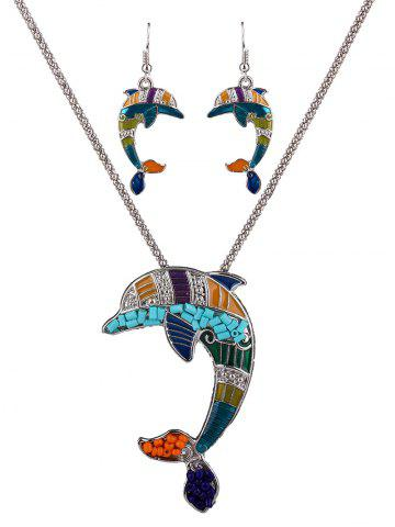 Cheap Dolphin Resin Beads Necklace Set COLORFUL