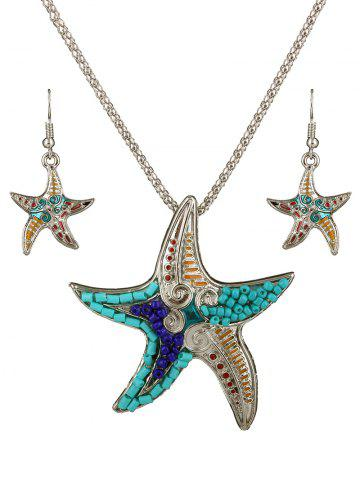 Outfits Delicate Turquoise Beads Multicolor Starfish Necklace Set For Women
