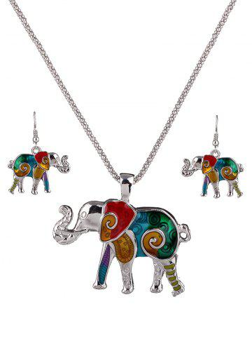 Trendy Enamel Multicolor Elephant Necklace and Earrings COLORFUL