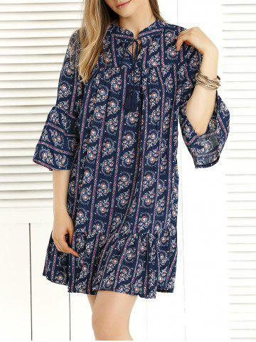 Chic Bohemian Bell Sleeve Tie-Front Dress