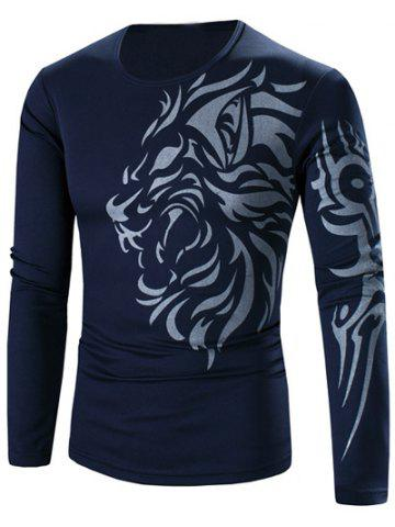 Latest Tattoo Style Tiger Print Round Neck Long Sleeve T-Shirt For Men CADETBLUE 3XL