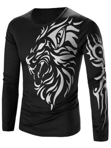 Shop Tattoo Style Tiger Print Round Neck Long Sleeve T-Shirt For Men