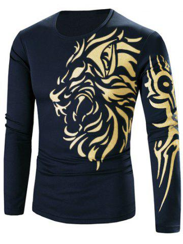 Chic Tattoo Style Golden Tiger Print Round Neck Long Sleeve T-Shirt For Men