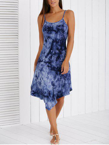 Latest Fashionable Spaghetti Strap Ink Painting High Low Dress