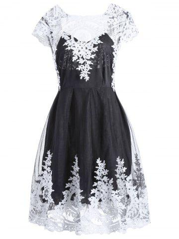 Buy Women's Retro Style Lace Square Neck Short Sleeve Dress