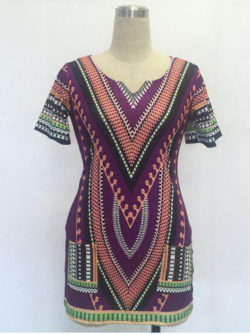 Ethnic V Neck Short Sleeve Printed Dress - PURPLE S