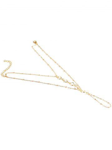 Trendy Faux Crystal Beads Toe Ring Anklet - GOLDEN  Mobile