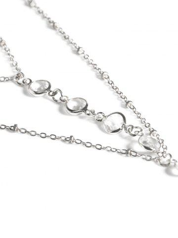 Hot Faux Crystal Beads Toe Ring Anklet - SILVER  Mobile