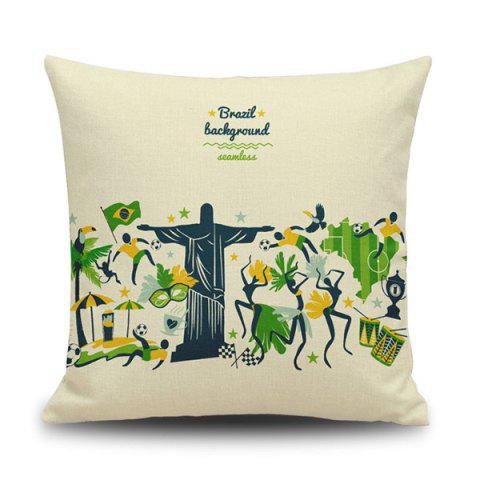 Sale Cartoon Brazil Olympic Game Linen Back Throw Pillow Case PALOMINO