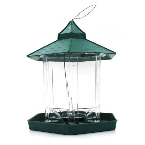 Hot Sale Prorable Lucency Hang Six Sides Pet Bird Feeder Supplies - Green