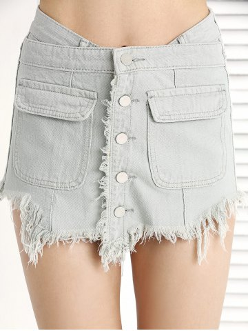 Shop Trendy Ripped Fringe Pocket Button Denim Skirt Shorts