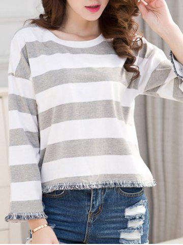 Online Striped Frayed Hem T-Shirt