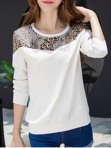 Latest Lace Panel Long Sleeve Crew Neck T-Shirt WHITE 2XL