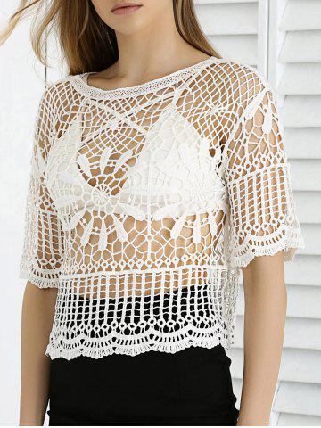 Outfits Sweet Lace Crochet See-Through Cropped Cover Up
