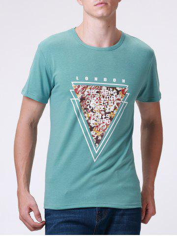 Best Casual Style Round Neck Short Sleeve Geometric and Letter Printed T-Shirt For Men
