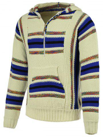 Trendy Striped Pattern Half Zip Long Sleeve Hooded Sweater For Men COLORMIX XL