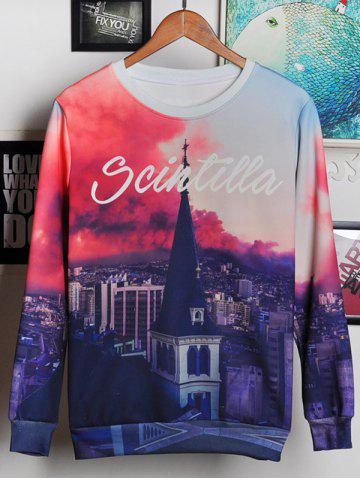 Sale 3D Bell Tower and Letters Print Round Neck Long Sleeve Sweatshirt For Men COLORMIX 2XL