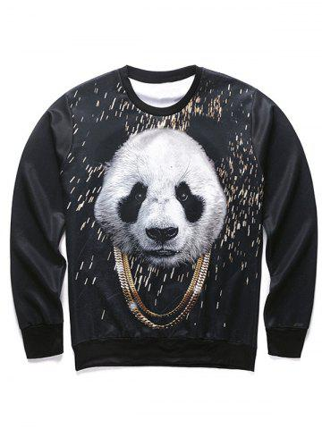 Buy 3D Panda and Gold Chain Print Round Neck Long Sleeve Sweatshirt For Men