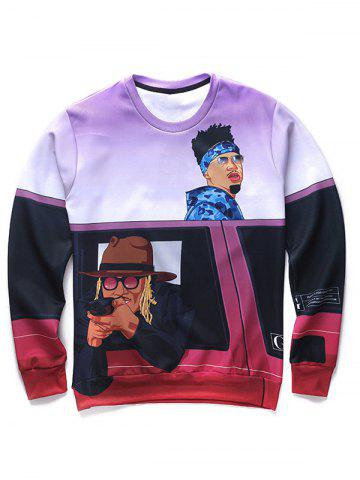 Fancy 3D Cartoon Figures Print Round Neck Long Sleeve Sweatshirt For Men COLORMIX 2XL