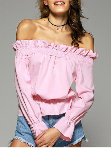 Sale Pure Color Off The Shoulder Ruffle Sleeve Blouse