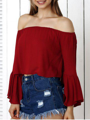 Latest Off-The-Shoulder Flare Sleeve Crop Top