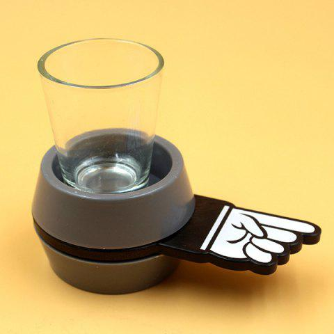 Buy Fashional Spinner Spin Short Finger Glass Wine Beer Drinkware - Gray