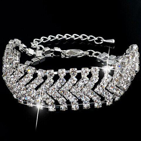Buy Cut Out V Shaped Rhinestone Bracelet