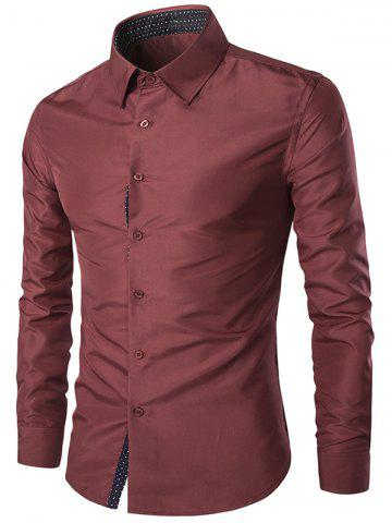 Trendy Turn-Down Collar Slim-Fit Long Sleeve Formal Shirt WINE RED 3XL