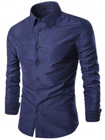 Turn-Down Collar Slim-Fit Long Sleeve Formal Shirt - Cadetblue - M