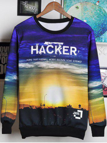 Trendy 3D Letters and Sunset Print Round Neck Long Sleeve Sweatshirt For Men