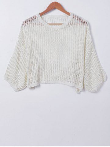 Latest Casual Pure Color Hollow Out Knitwear