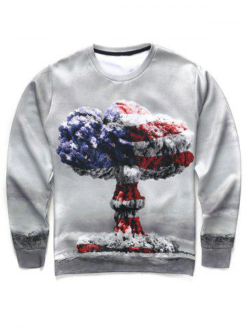 Best 3D Mushroom Cloud Print Round Neck Long Sleeve Sweatshirt For Men - XL COLORMIX Mobile