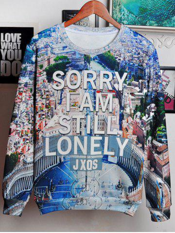 Outfits 3D City and Letters Print Round Neck Long Sleeve Sweatshirt For Men COLORMIX 2XL