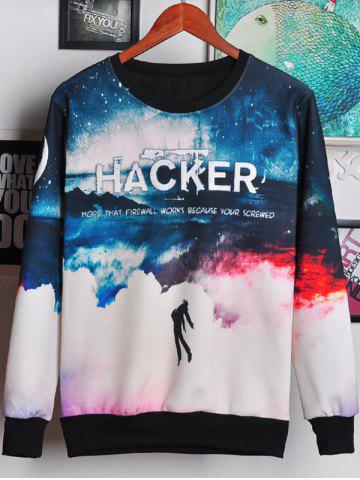 Fashion 3D Ombre Sky and Letters Print Round Neck Long Sleeve Sweatshirt For Men
