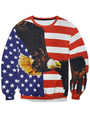 Outfits 3D Star and Stripe Eagle Print Round Neck Long Sleeve Sweatshirt For Men COLORMIX 2XL