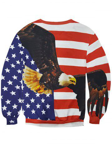 Fancy 3D Star and Stripe Eagle Print Round Neck Long Sleeve Sweatshirt For Men - 2XL COLORMIX Mobile