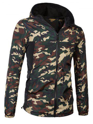 Fashionable Camo Bomber Hooded Zipper Flying Jacket For Men - JUNGLE CAMOUFLAGE 3XL