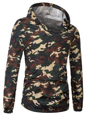 Cheap Fashionable Camo Bomber Hooded Pullover Jacket For Men