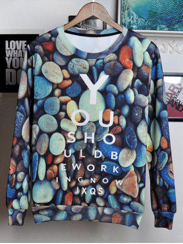 Fashion 3D Stone and Letters Print Round Neck Long Sleeve Sweatshirt For Men