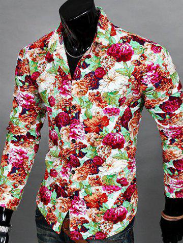 Discount Floral Print Turn-down Collar Long Sleeve Shirt For Men