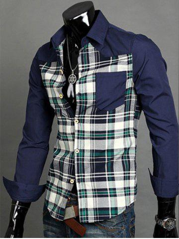 Shop Patchwork Desigh Turn-Down Collar Long Sleeve Plaid Shirt For Men