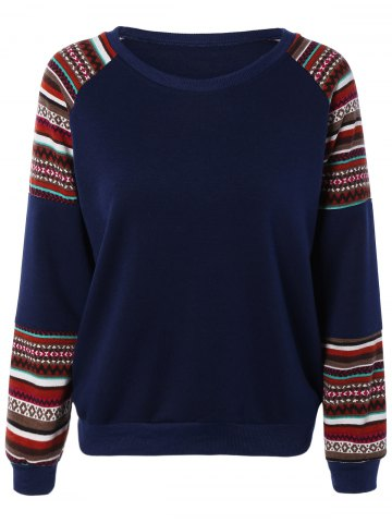 Online Tribal Print Spliced Sweatshirt PURPLISH BLUE 2XL