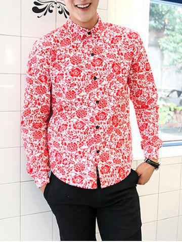 New Chinoiserie Floral Printed Turn-Down Collar Long Sleeve Shirt For Men