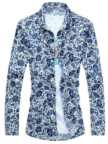 Discount Chinoiserie Floral Printed Turn-Down Collar Long Sleeve Shirt For Men