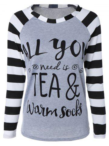 Shop Stylish Stripe Letter Print Long Raglan Sleeve Funny Graphic Tees GRAY XL
