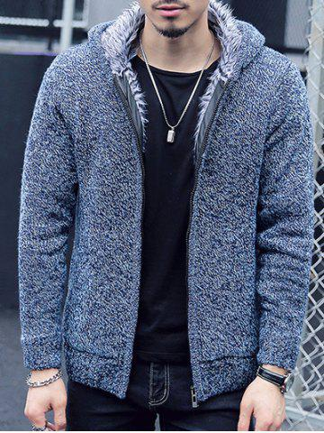 Sale Plush Lining Zip Up Hooded Cardigan For Men BLUE 2XL