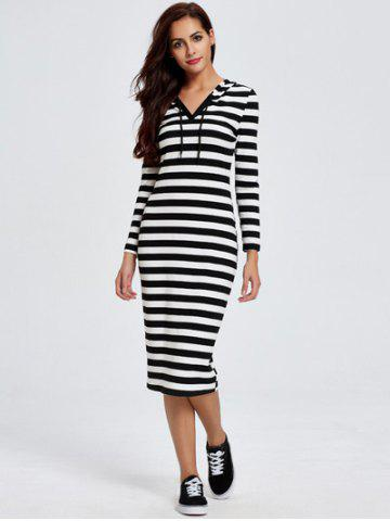 Outfit Chic Hooded Long Sleeve Striped Women's Dress STRIPE XL